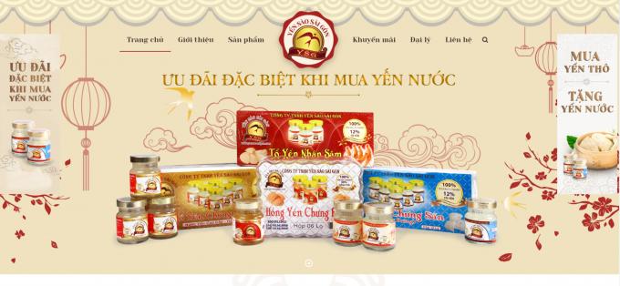 Website Công ty TNHH Yến sào Sài Gòn địa chỉ tại426A đường Láng.