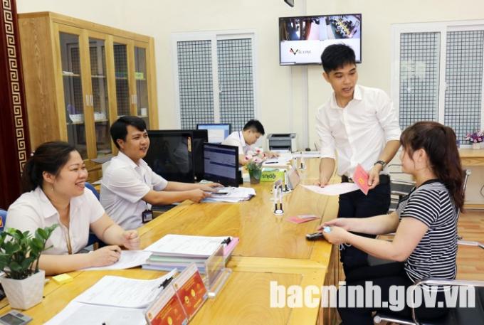 Bộ phận tiếp nhận và trả kết quả phường Võ Cường, thành phố Bắc Ninh.