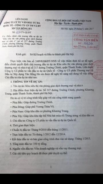 Văn bản giả mạo Cty ICC được Cty Tân Hồng Hà