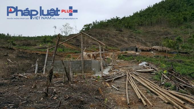 Phát phá rừng sau đó đốt trụi, xây chuồng lợn trên đầu nguồn nước ( Ảnh: Tiến Vũ ).