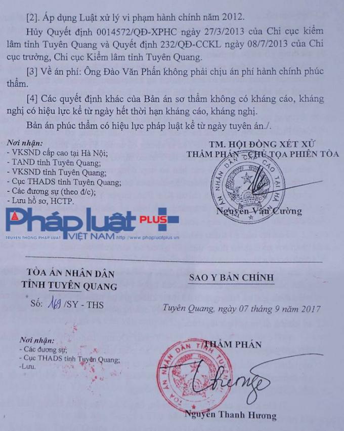 Trích Quyết định của Tòa cấp cao tại Hà Nội.