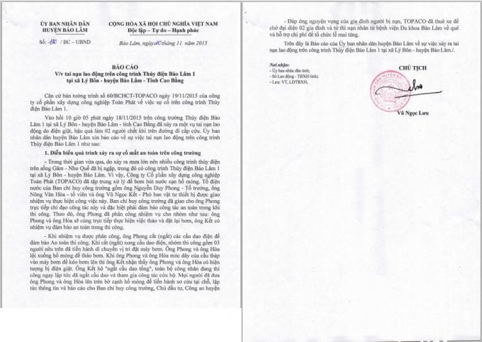 Báo cáo của UBND huyện Bảo Lâm, Cao Bằng về vụ việc hai công nhân tử vong trên công trường thủy điện.