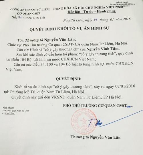 Quyết định số 73/CANTL (ĐTTH) khởi tố vụ án hình sự cố ý gây thương tích xảy ra vào ngày 7/1/2016 tại phường Mễ Trì, quận Nam Từ Liêm, Hà Nội.