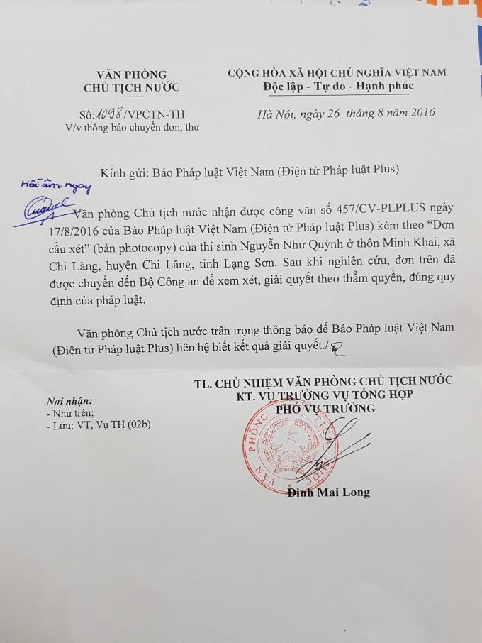 Văn phòng Chủ tịch nước đã chuyển tâm thư của thí sinh Nguyễn Như Quỳnh sang Bộ Công an xem xét, giải quyết.