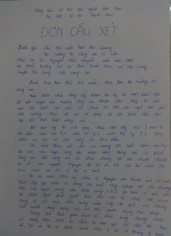 Một phần của bức tâm thư của em Quỳnh gửi tới ngài Chủ tịch nước và Bộ trưởng Công an