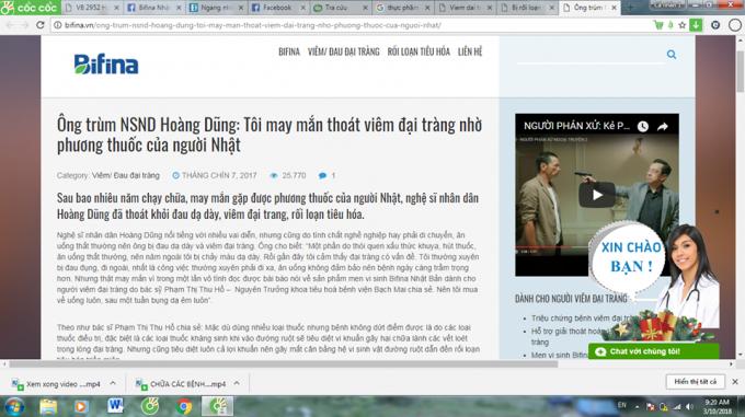 Nhiều bài viết quảng cáo trên web của công tyEcopath Việt Nam gây hiểu nhầm cho khách hàng rằng đây là thuốc chữa bệnh?
