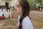 'Thiên thần' áo dài trắng, với góc nghiêng đẹp như tạc tượng