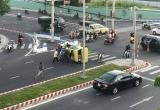 Đà Nẵng: Taxi lật nhào sau pha khi bị xe ô tô 7 chỗ ngồi đâm phải