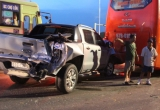 Clip hiện trường vụ xe buýt đại náo quốc lộ, làm 3 người thương vong