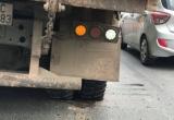 Xe tải nổ lốp trên cầu Thanh Trì