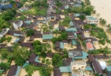 Thanh Hóa: Toàn cảnh ngôi làng chìm trong biển nước nhìn từ Flycam
