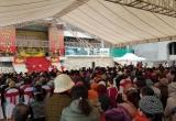 Quảng Ninh: Dòng người tấp nập tham dự Lễ cất nóc công trình Cung Trúc Lâm Yên Tử