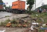 Bình Dương: Xe container mất lái tông hàng loạt cây xanh, tài xế tử vong