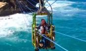 Đột nhập hòn đảo giữa biển bằng kiểu đi cáp treo lạ chưa từng thấy
