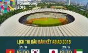 Lịch thi đấu bán kết bóng đá nam Asiad 18: Việt Nam vs Hàn Quốc; Nhật Bản vs UAE