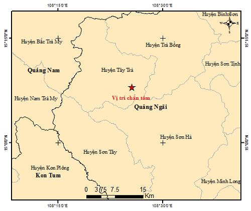 Liên tiếp xảy ra 4 trận động đất trên địa bàn tỉnh Quảng Ngãi