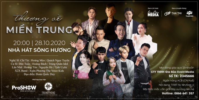 """Nhiều nghệ sĩ tham gia đêm nhạc thiện nguyện """"Thương về miền Trung"""" tại Huế"""