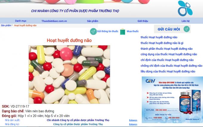 Thu hồi lô thuốc Hoạt huyết dưỡng não của Công ty CPDP Trường Thọ