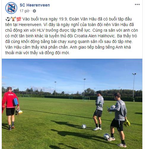 Cổ động viên Việt Nam hạnh phúc trước bài viết về Đoàn Văn Hậu bằng Tiếng Việt trên trang Facebook của CLB Heerenveen