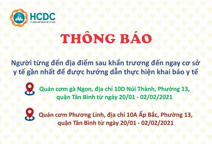 TP HCM: Tìm người đến 2 địa điểm tại quận Tân Bình do liên quan COVID-19