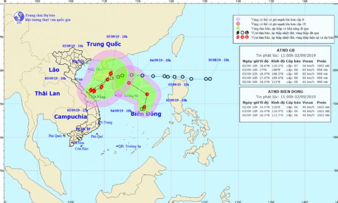 Thời tiết dị thường với hai Áp thấp nhiệt đới trên biển Đông