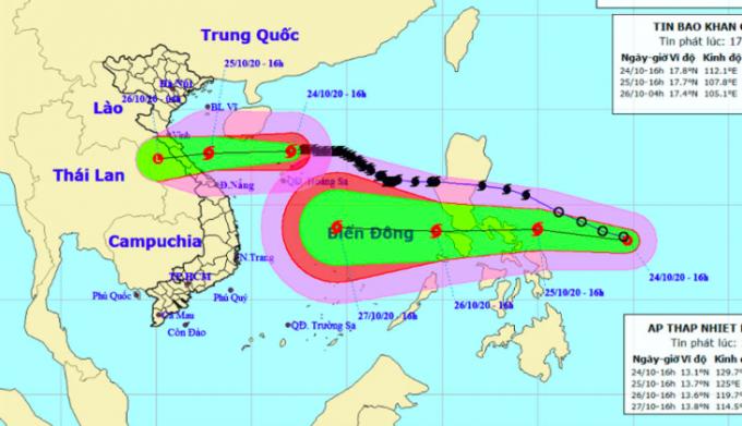 Mưa lớn từ Nghệ An đến Thừa Thiên Huế trong đêm nay do ảnh hưởng của cơn bão số 8