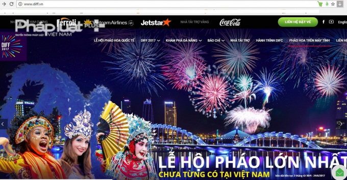 Website duy nhất của ban tổ chức Lễ hội pháo hoa quốc tế Đà nẵng 2017.