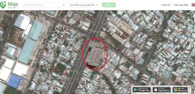 Dự án The Summit Sơn Trà (vòng tròn đỏ) nằm ngã tư trục Phan Bá Phiến - Ngô Quyền - Đinh Công Trứ - Nam Thọ 6 nhìn trên bản đồ.