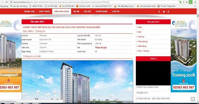 Phần chào bán dự án Sơn Trà Ocean View trên website của công ty địa ốc Minh Trần.