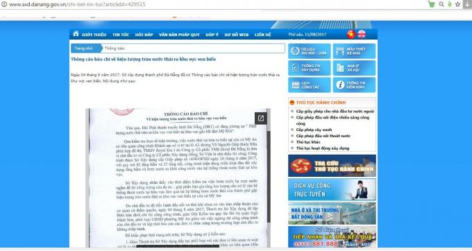 Thông cáo báo chí việc đình chỉ thi công công trình của khách sạn do Công ty CP TMS Hotel Đà Nẵng là đơn vị chủ đầu tư trên website Sở Xây dựng TP Đà Nẵng. (Ảnh chụp chiều 11/8).