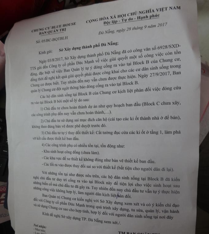Đơn người dân phản ánh gửi Sở Xây dựngTP Đà Nẵng.