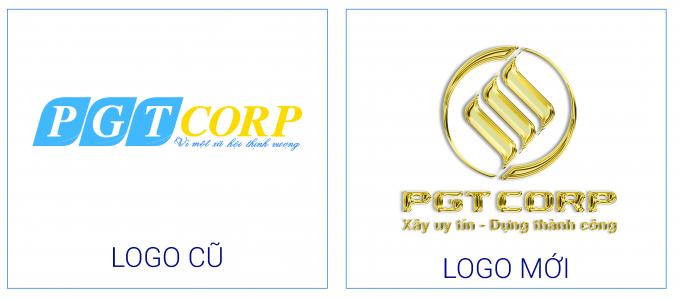 PGTCorp thay đổi bộ nhận diện logo cũ sang bộ logo mới (phải).