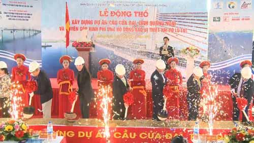 Lễ động thổ xây dựng dự án cầu Cửa Đại bắc qua sông TràKhúc. Ảnh: BATGT Quang Ngai.