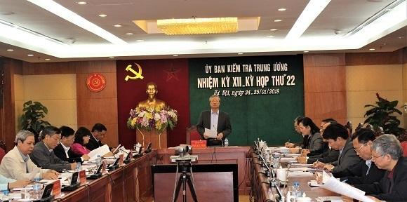 Ông Trần Quốc Vượng, Ủy viên Bộ Chính trị, Bí thư Trung ương Đảng, Chủ nhiệm Ủy ban Kiểm tra Trung ương chủ trì các kỳ họp.