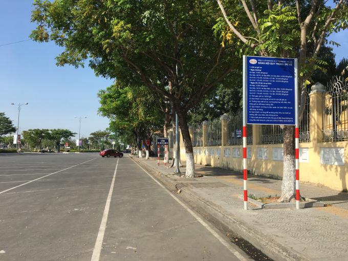 Bãi đỗ xe ở Cổ Viện Chàm thuộc công ty Thái Lâm quản lý thu phí dịch vụ.