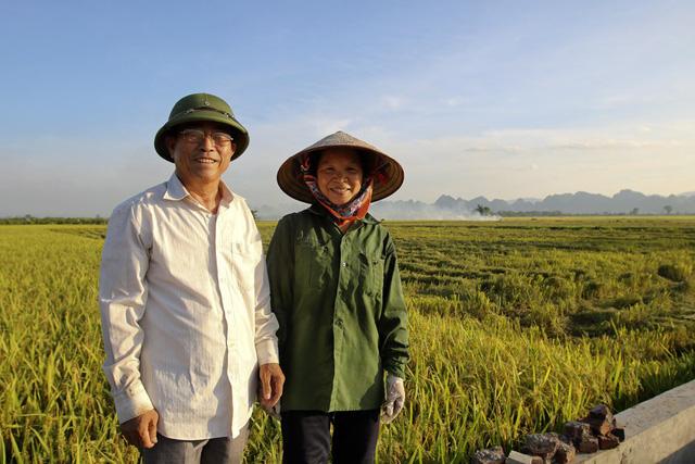 Chân dung những người nông dân Mỹ Đức bên đồng ruộng. Vợ chồng bác Nguyễn Ngọc Uyên và Ngô Thị Thuấn có tất cả 4 sào ruộng, năm nay lúa được mùa, mỗi sào cũng cho thu hoạch khoảng 2,8 tạ thóc.
