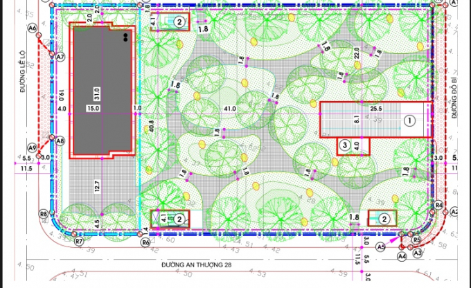 Dự thảo thiết kế tổng thể quy hoạch bãi đỗ xe, nhà trẻ, công viên… do Mường Thanh hợp đồng với Viện Quy hoạch xây dựng Đà Nẵng lập thiết kế.