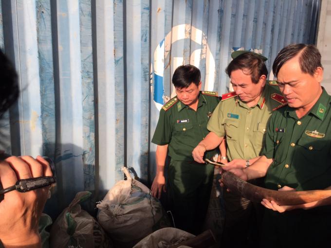 Phát hiện 10 tấn ngà voi, vẩy tê tê nhập lậu tại Cảng Tiên Sa, TP Đà Nẵng.