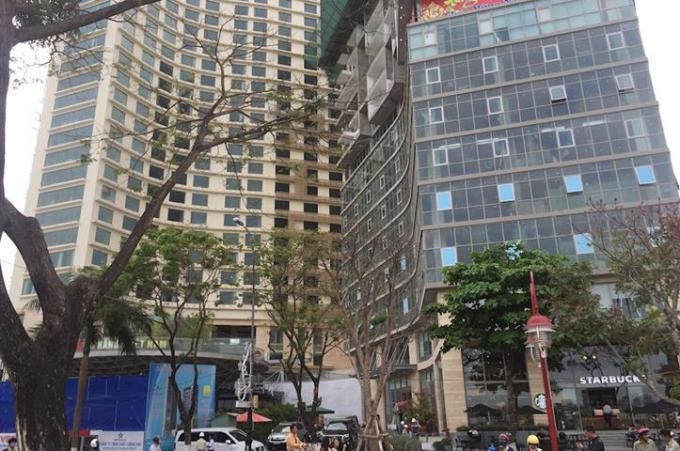 Phát hiện công trình không phép có diện tích khoảng 200 m2 nằm tại khối đế tòa nhà tại dự án khu phức hợp khách sạn Bạch Đằng.