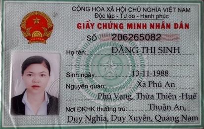 CMND của đối tượng Sinh. Ảnh: CA Quảng Nam.