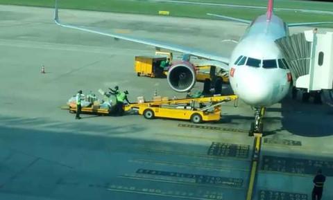 Hình ảnh ghi lại nhân viên bốc xếp sân bay Đà Nẵng ném hành lý hành khách.