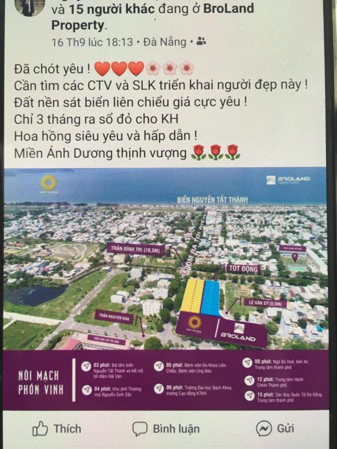 Thông tin chào bán 23 lô đất xuất hiện trên mạng xã hội.