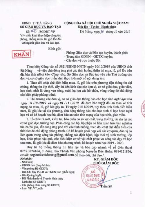 Văn bản giả mạo công văn Sở GD&ĐT TP Đà Nẵng, nhưng dấu treo lại của Sở GD&ĐT tỉnh Quảng Ngãi.