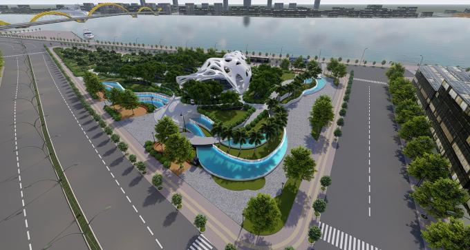 """Công trình Vườn tượng APEC mở rộng dựa theo ý tưởng """"Cánh diều bay cao"""" của Công ty TNHH MTV Tư vấn thiết kế và xây dựng Phố Xanh."""