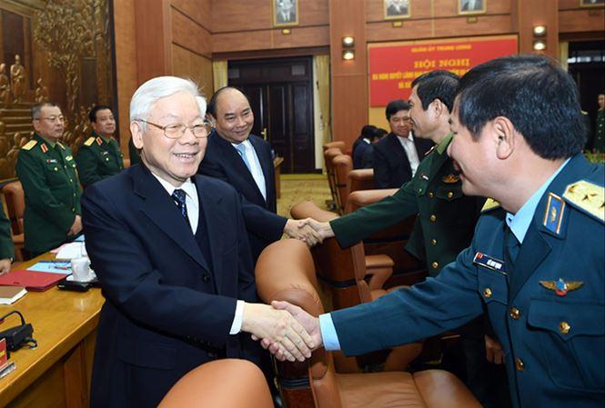 Tổng Bí thư, Chủ tịch nước Nguyễn Phú Trọng, Thủ tướng Nguyễn Xuân Phúc và các đại biểu dự hội nghị. ẢNH: CTV