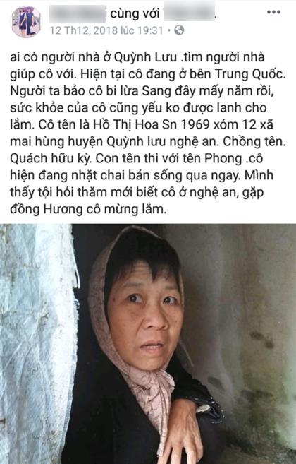 Hình ảnh và thông tin về bà Hoa được đăng tải trên mạng xã hội. Ảnh: Trần Hải..