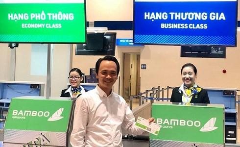 Chủ tịch FLC Trịnh Văn Quyết trong ngày Bamboo Airways cất cánh. Ảnh: FB Trịnh Văn Quyết.