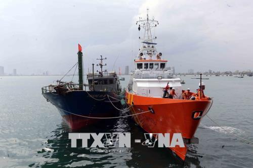 Lai dắt thành công tàu cá bị nạn cùng 10 ngư dân vào bờ.
