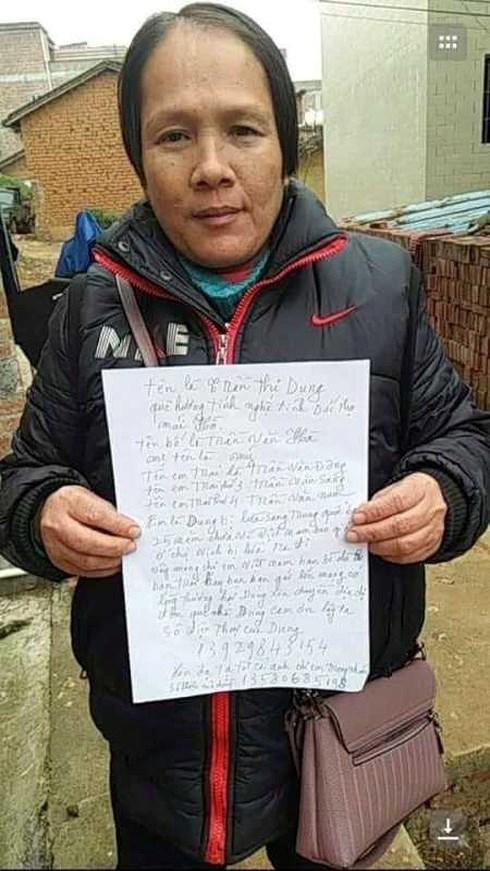 Chị Trần Thị Dung đăng thông tin tìm người thân (Ảnh do gia đình cung cấp)