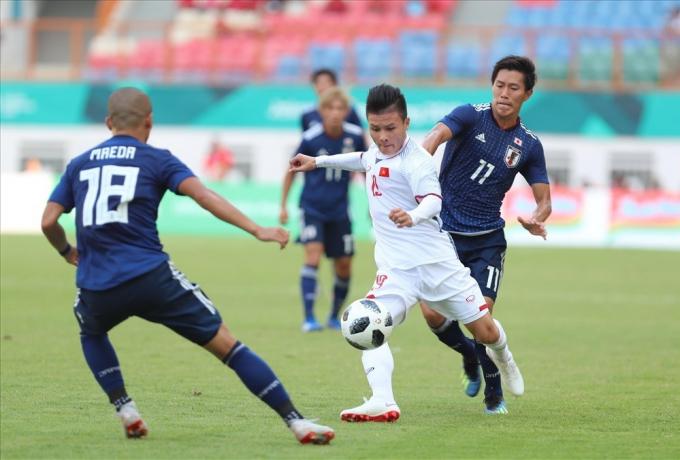Quang Hải và các đồng đội từng đánh bại Nhật Bản ở Asiad 2018.